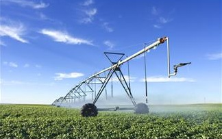 Machine watering a field of plants under a clear blue sky.