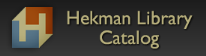 """Hekman square logo and text """"Hekman Library Catalog"""" in a dark box."""