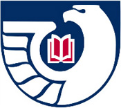 Logo - White shape of an eagle against a dark blue background with a red book in between the eagle's head and lifted wing.