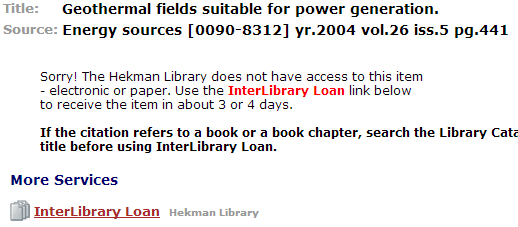 Screenshot of Full-Text @ Hekman information of a journal that Hekman does not have access to.