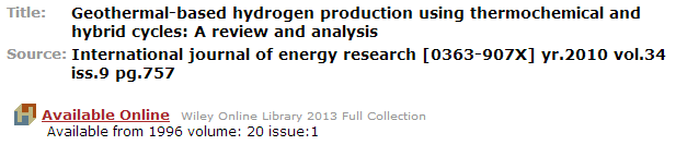 Screenshot of Full-Text @ Hekman information for a specific journal.