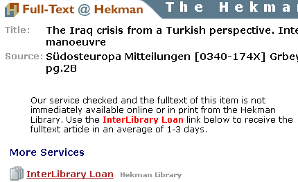 Screenshot of Full-Text @ Hekman page for a specific article.