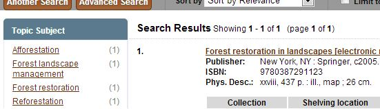 Screenshot of search results in Hekman Library catalog.