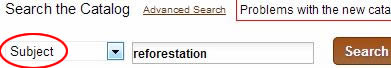 """Screenshot of Hekman catalog search options with """"Subject"""" circled in red."""